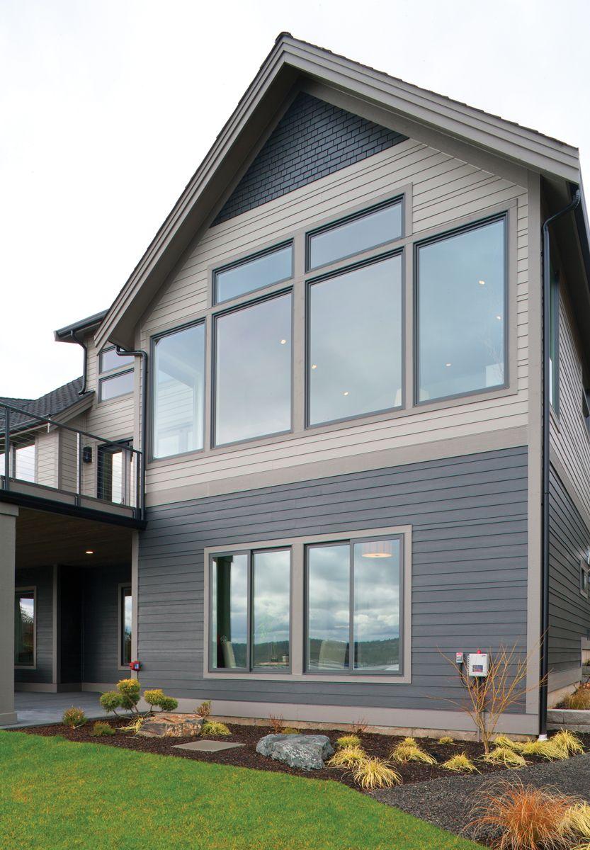 Pacific Northwest Home With Contemporary Windows Milgard Windows Doors Picture Windows Exterior Dark Home Exterior House Exterior