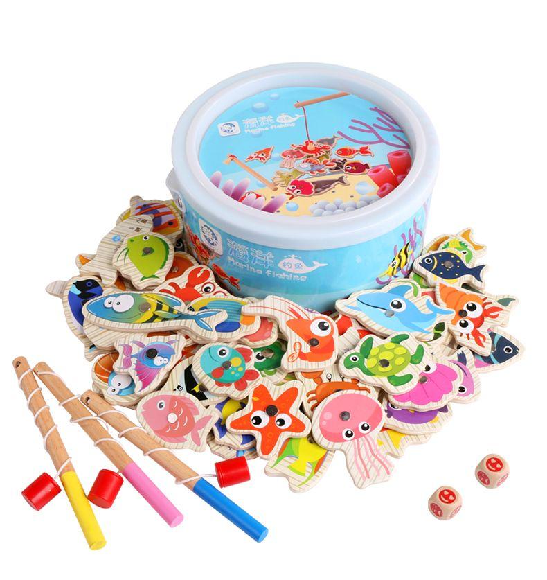 Logwood 60pcs Set Magnetic Fishing Toy Game Kids 3 Rod 3D Fish Baby ...