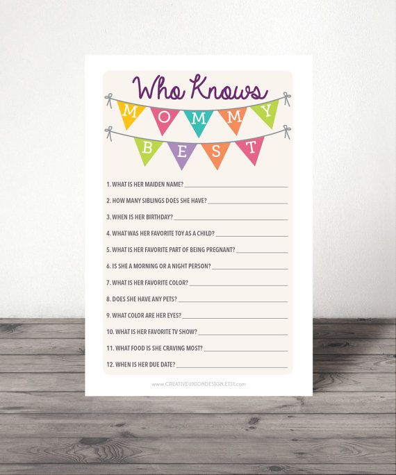 Who Knows Mommy Best Game - Baby Shower Game - Who Knows Mommy Best - best of invitation kick off meeting