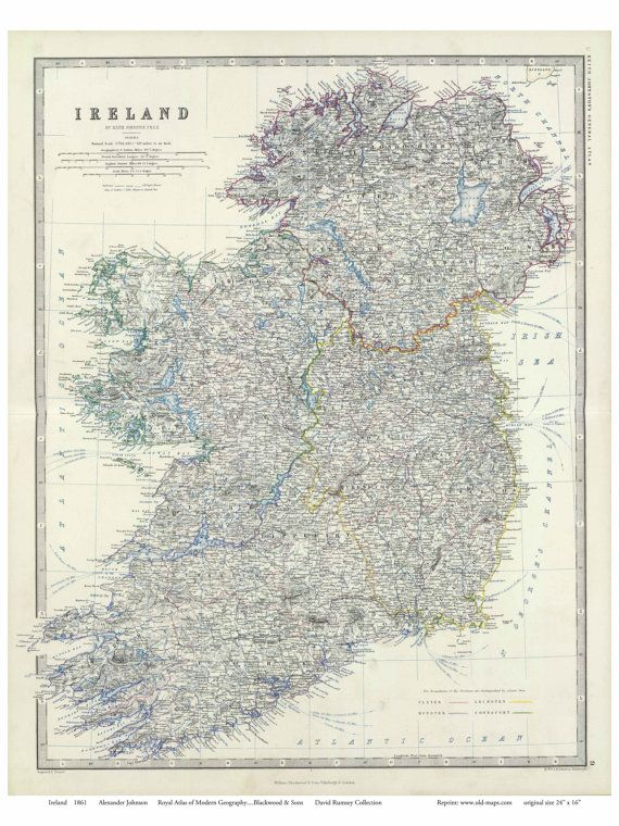 Map Of Ireland Lakes.Ireland 1861 Map By Johnson Old Map Reprint Lakes Canals And