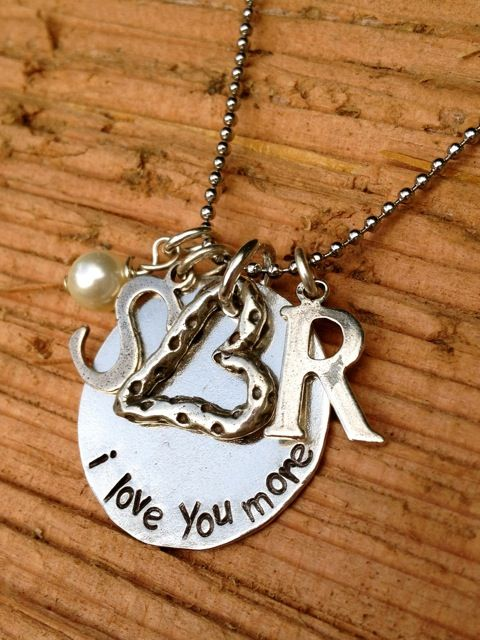 hand stamped. i love you more necklace