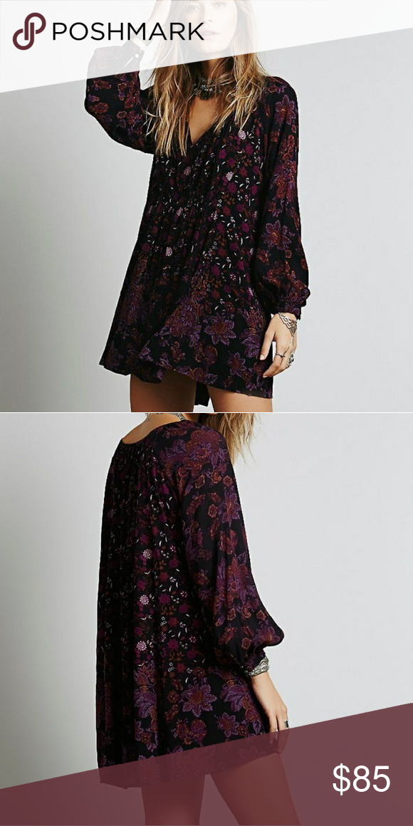 f5f92db63849 free people lucky loosey dress pretty maroon purple and black loose flowy  dress perfect for fall Free People Dresses