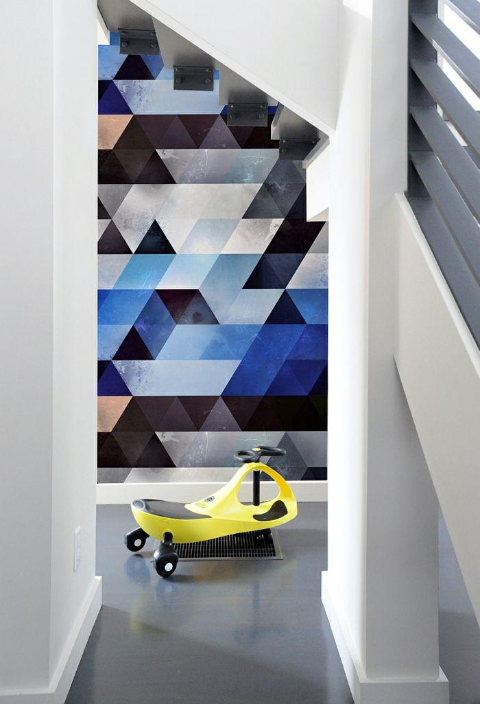 Grande Waende Gestalten Wandgestaltung Farbgestaltung Dreiecke Dunke Farben