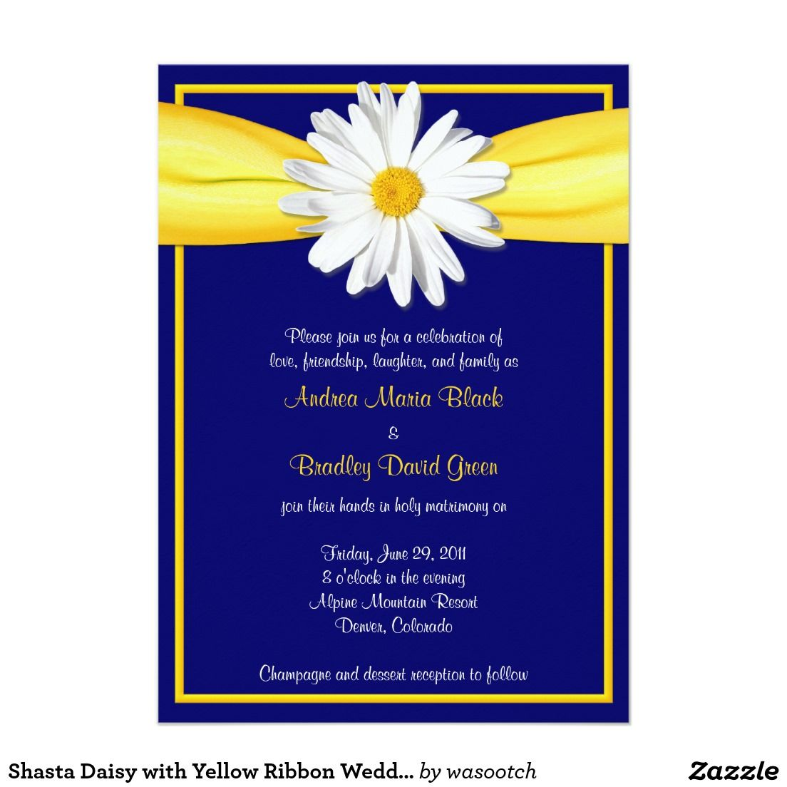 "Shasta Daisy with Yellow Ribbon Wedding Invitation 4"" X 4"