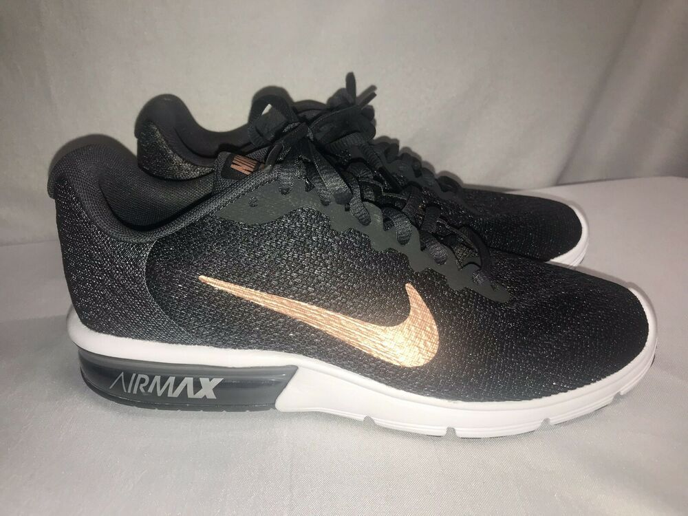 2287c5400fc Nike Air Max Sequent 2 Women's RARE Black Rose Gold Awesome Running ...