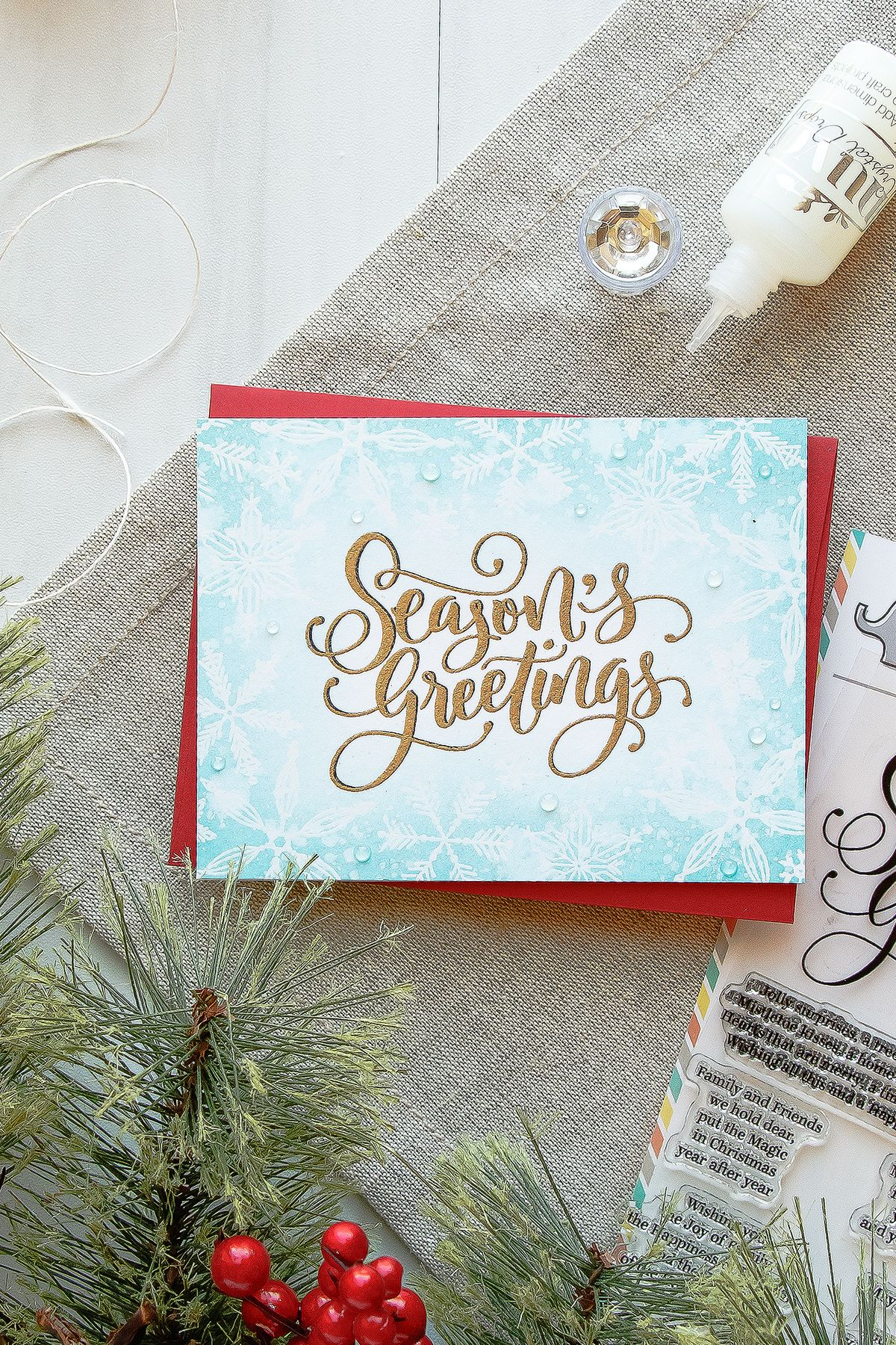 Mama Elephant Seasons Greetings Christmas Snowflakes Card By Yana