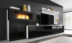 Great Elegante Glanzlack Schrankwand Für Das Wohnzimmer Mit Behaglichem Bioethanol  Kamin, TV Schrank, Unterschrank Und Regalen | Einrichten, Wohnen |  Pinterest