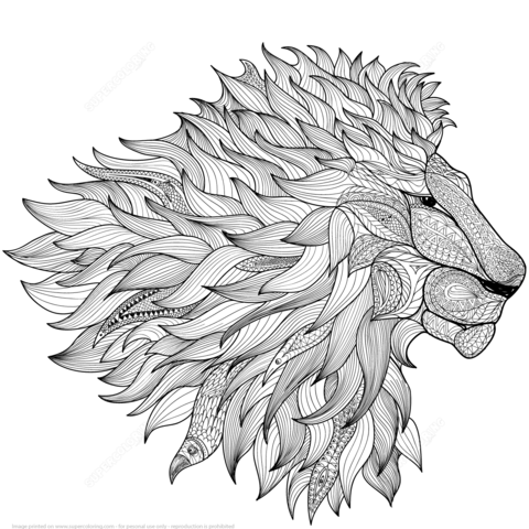 León Zentangle Dibujo para colorear | manualidades | Pinterest ...