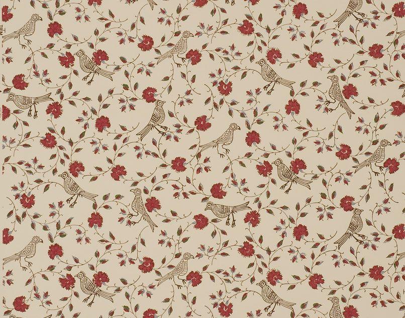 Dessin d 39 indienne oiseaux et semis de fleurs papiers for Ikea tissus d ameublement