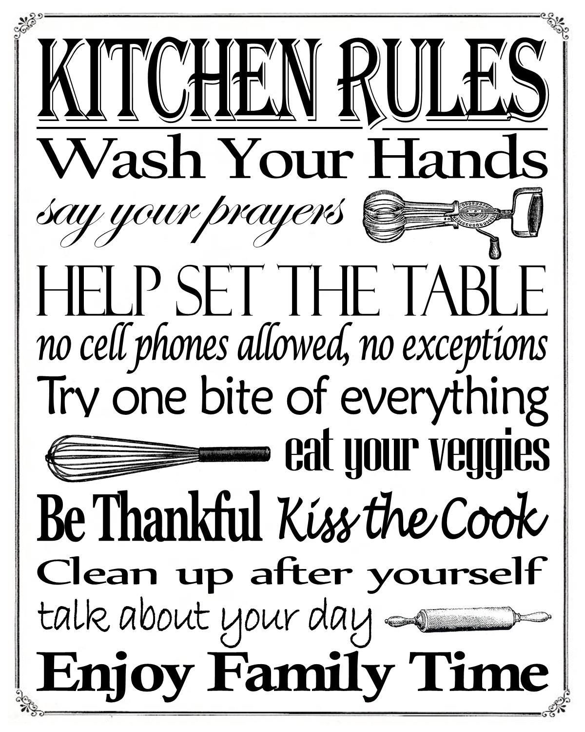 Free Printable Kitchen Rules 8 X 10 Sign Misc In 2019