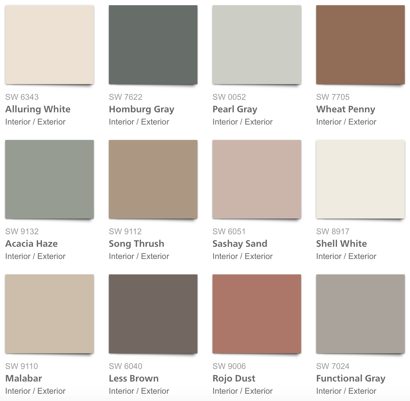 Sherwin Williams 2018 Sincerity Palette Color Inspiration