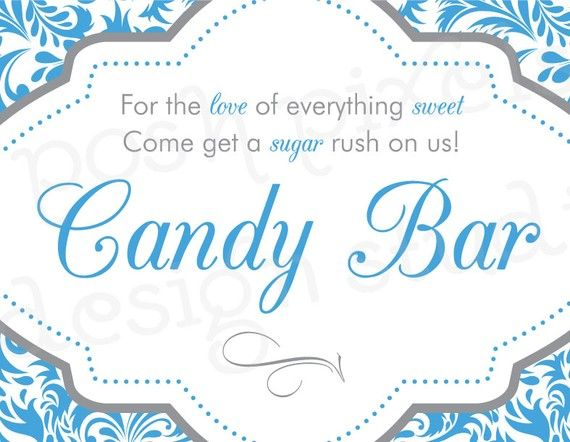 PRINTABLE Designer Signs  Candy Buffet Bar by MakeLifeCuteShop