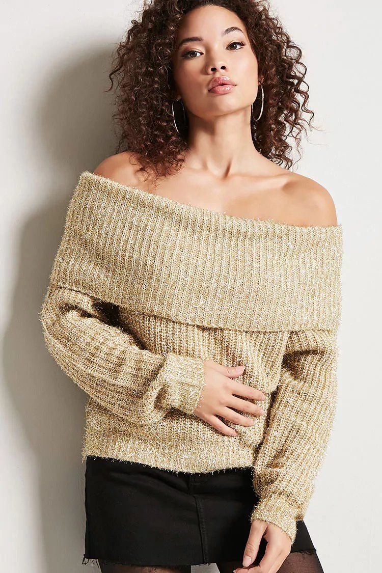 Product Name:Metallic Knit Off-the-Shoulder Sweater