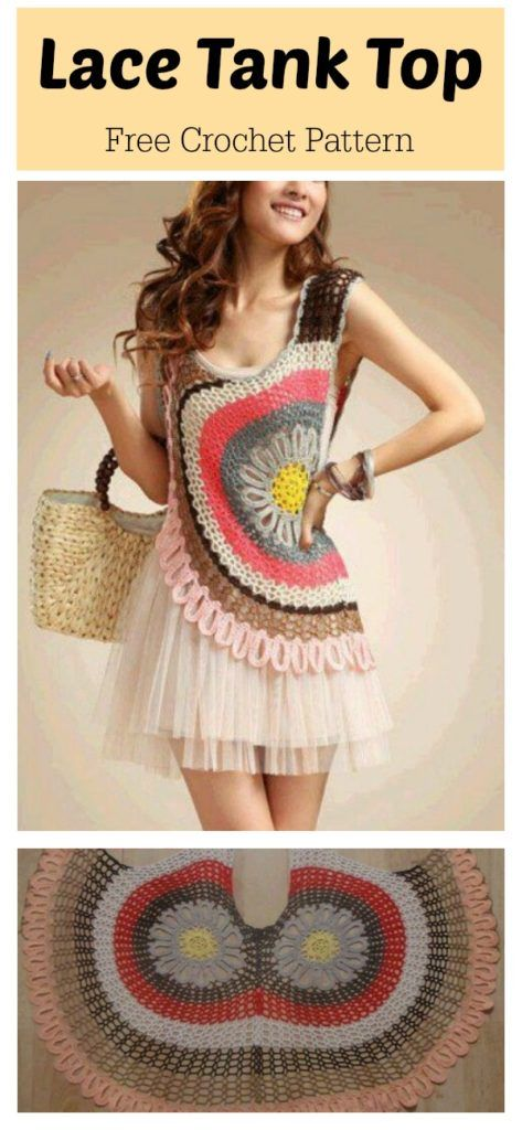 Lace Tank Top Free Crochet Pattern | blusas a crochet | Pinterest ...