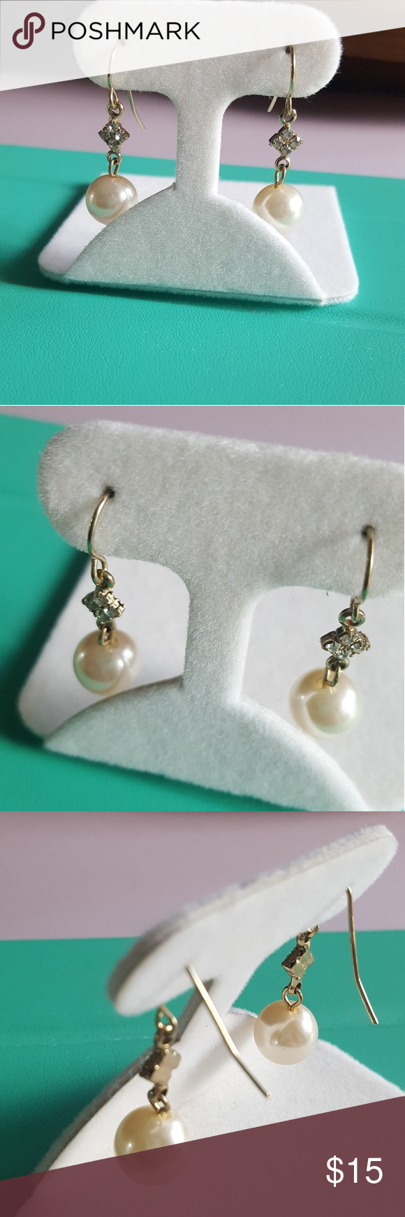 Dangle pearl earrings with cz Gold tone hand made pearl dangle earrings with cubic zirconoas. Ivory colored pearls Jewelry Earrings