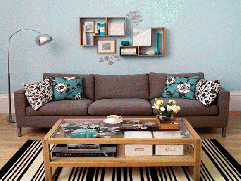 Living Room, The Room Design Idea Also Beautiful Small Carpet Then Blue Wall  Design Idea Also Beautiful Picture On Wall: The Exciting Design Idea Of The  ...
