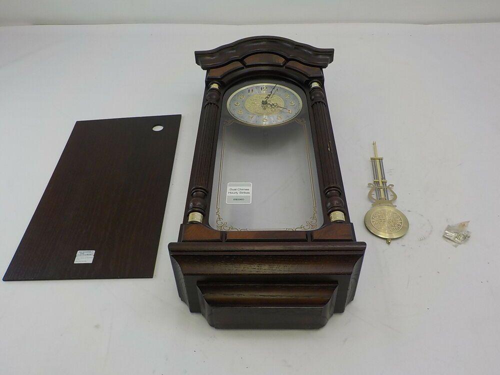 Seiko Qxh004blh Wall Pendulum Clock Dark Brown Solid Oak Case Fashion Home Garden Homedcor Clocks Ebay Link Pendulum Wall Clock Clock Pendulum Clock
