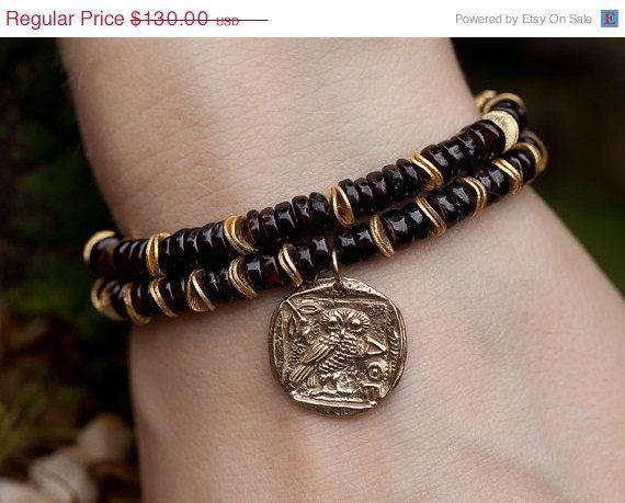 Mothers Day Sale SET OF TWO garnet stretch bracelets - owl charm - boho stack bracelets - garnet bracelets - gold bracelets - january births