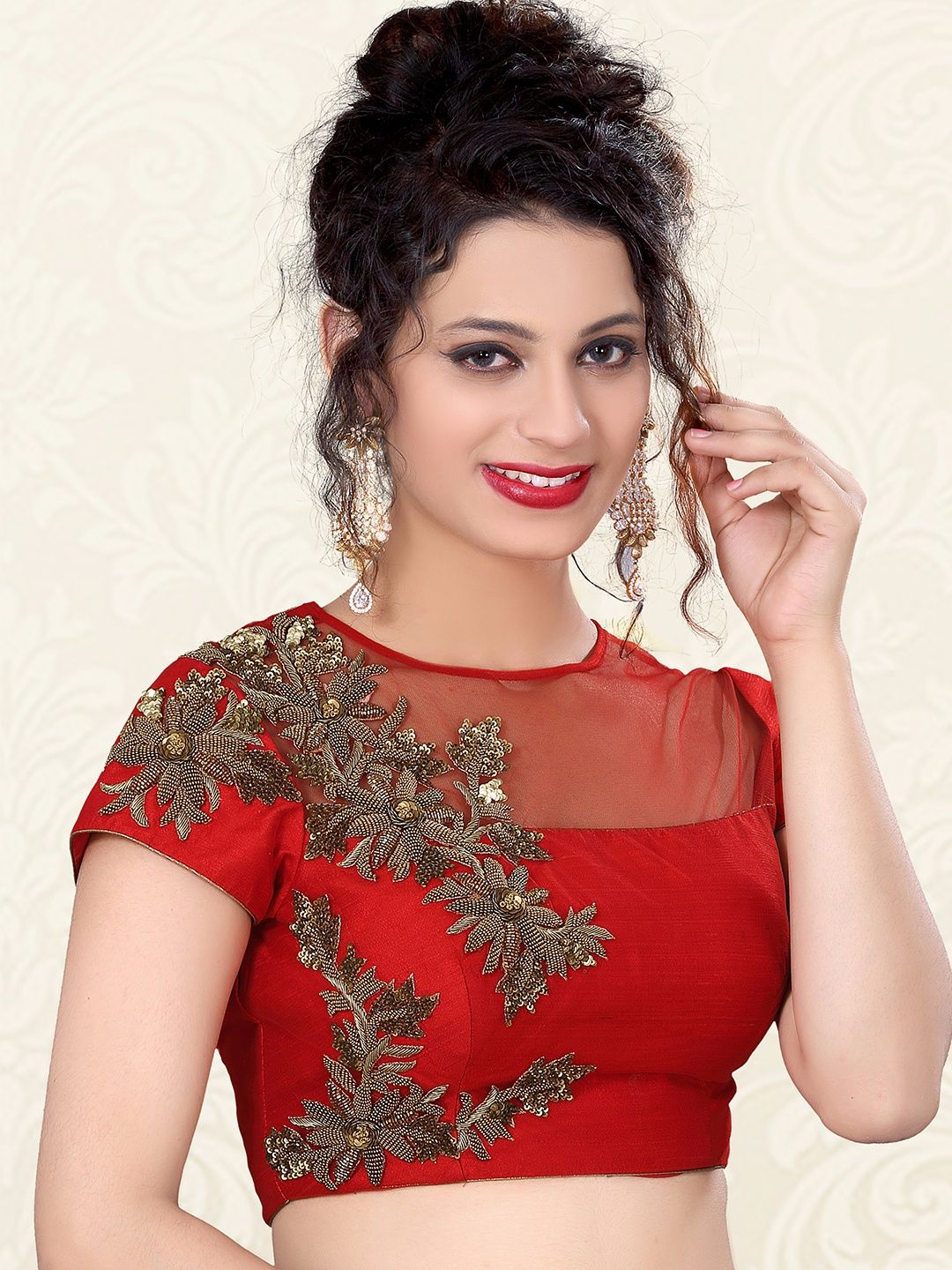 d871634b21479 Red Nice Raw Silk Designer Ready Made Blouse For price or detail do  whatsApp +91-9913433322