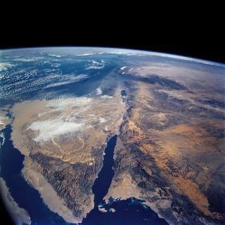 Released To Public Sinai Penninsula And Dead Sea From Space Shuttle Columbia March 2002 Nasa Earth From Space