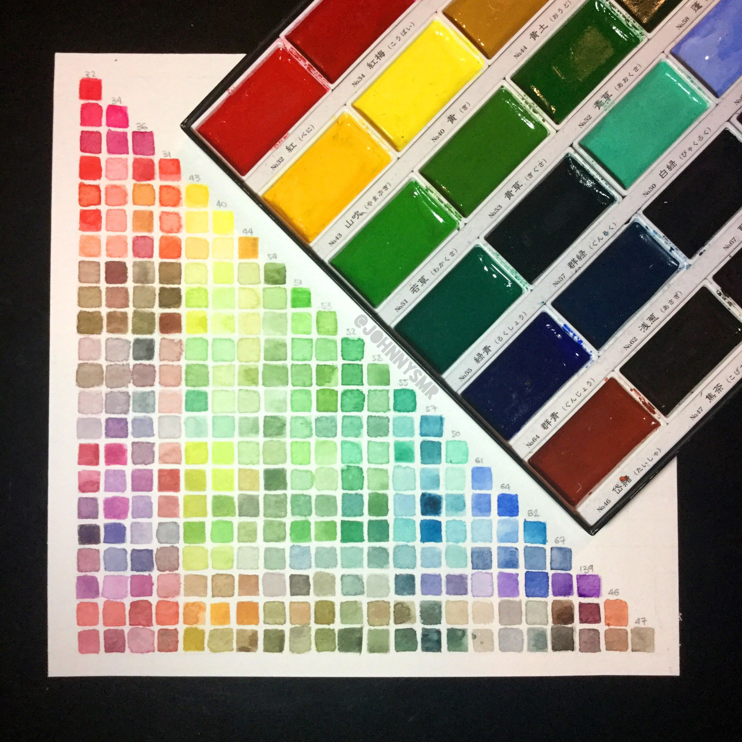 Watercolor Swatches Colors Chart Using Kuretake Gansai Tambi 24