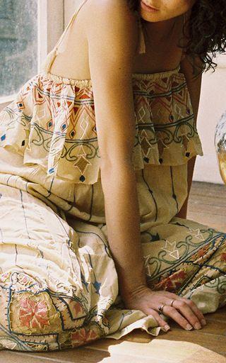 Madelene Sand Ruffled Midi Dress by ALL THAT REMAINS for Preorder on Moda Operandi