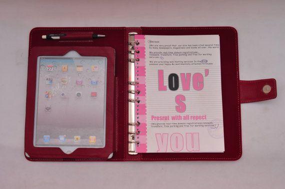Artículo No.:9002 Top grano cuero simple cartera con la carpeta para el cuaderno y calendario & iPad caso para iPad1, iPad2, iPad3 en vino rojo