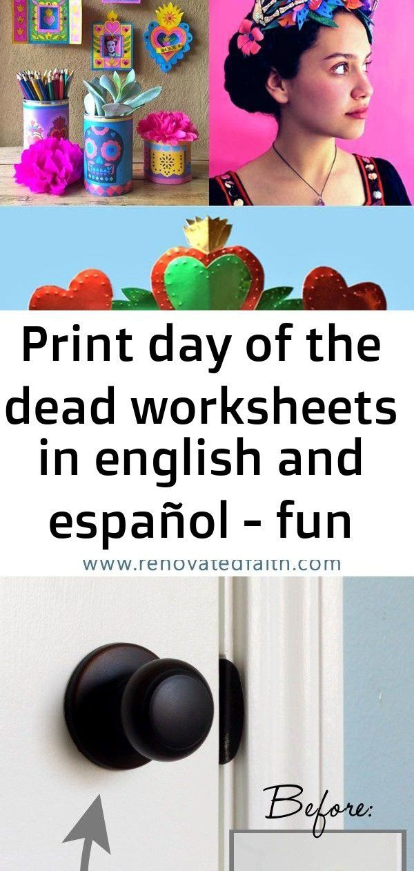 Print day of the dead worksheets in english and español - fun printable kids activity,  Print day