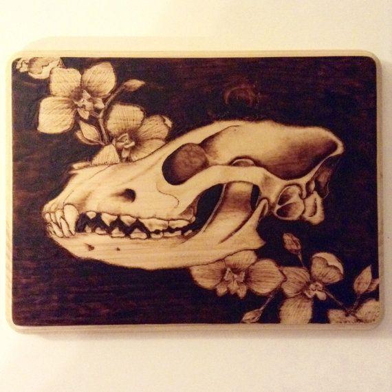 $80 - Dog skull with orchids original wood burning