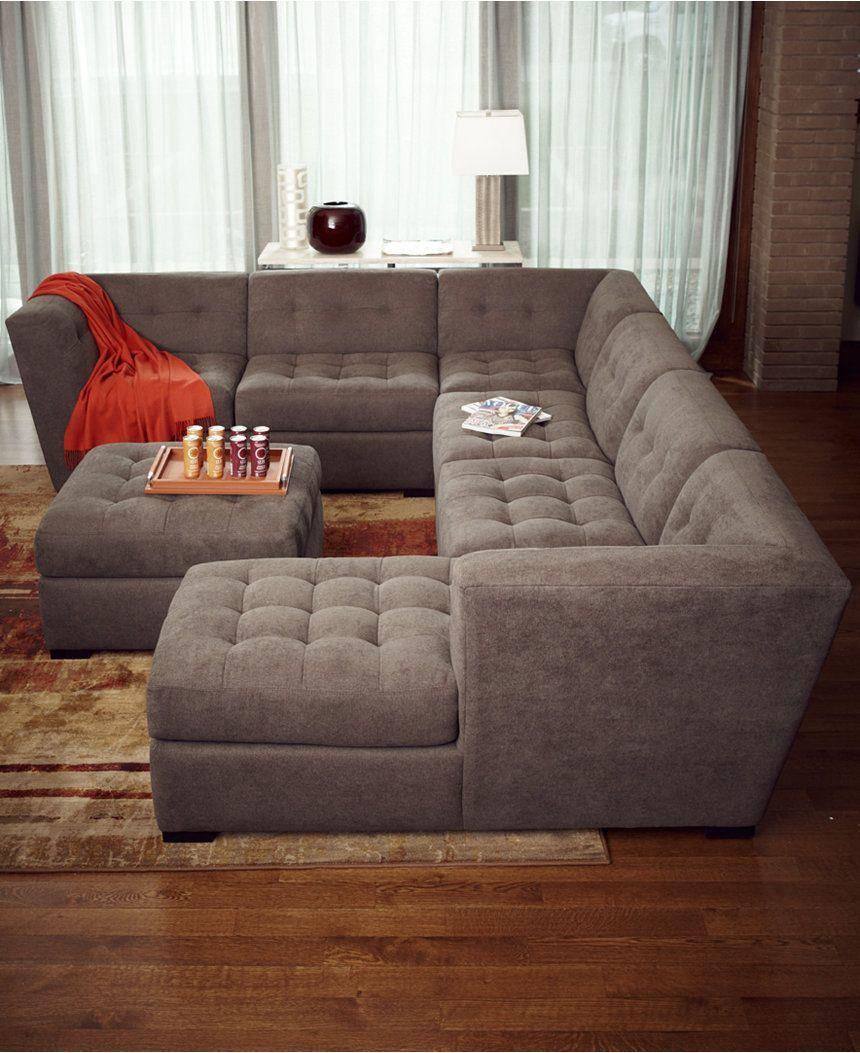 Roxanne Fabric 6 Piece Modular Sectional Sofa (2 Corner Units, 3 Armless  Chairs