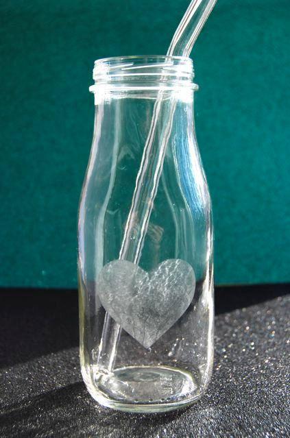 Heart Etched Milk Glass Bottle