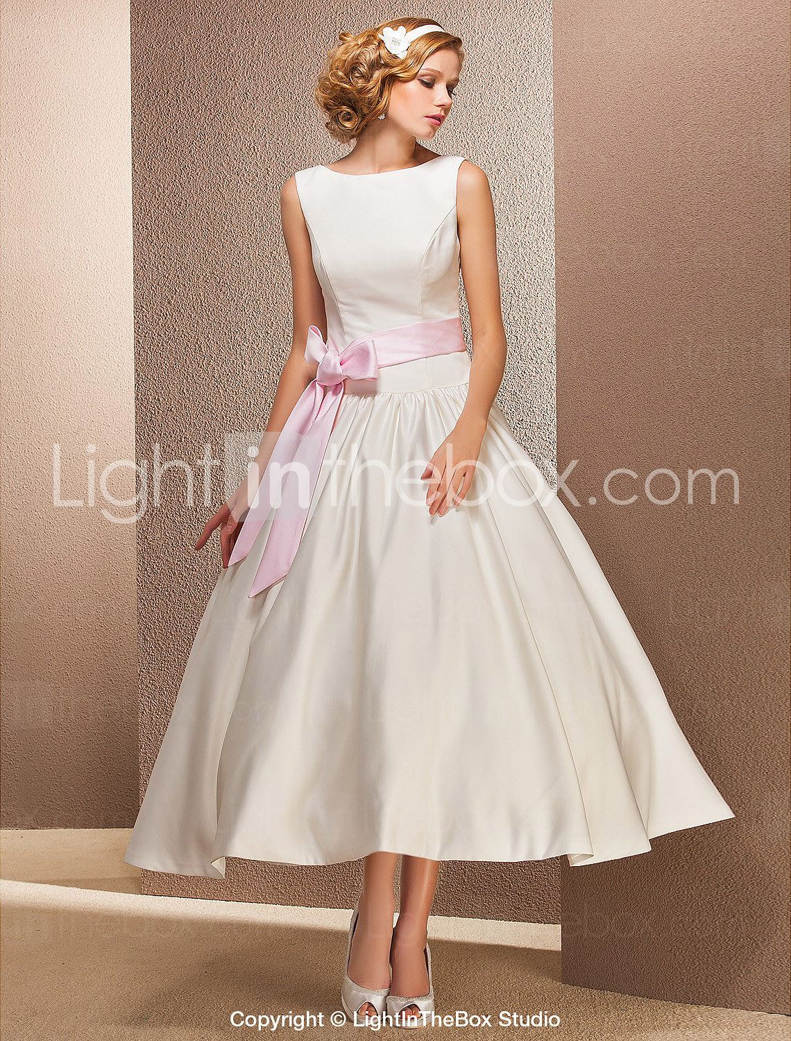 Lightinthebox wedding dresses  Princess Bateau Neck Tea Length Satin MadeToMeasure Wedding