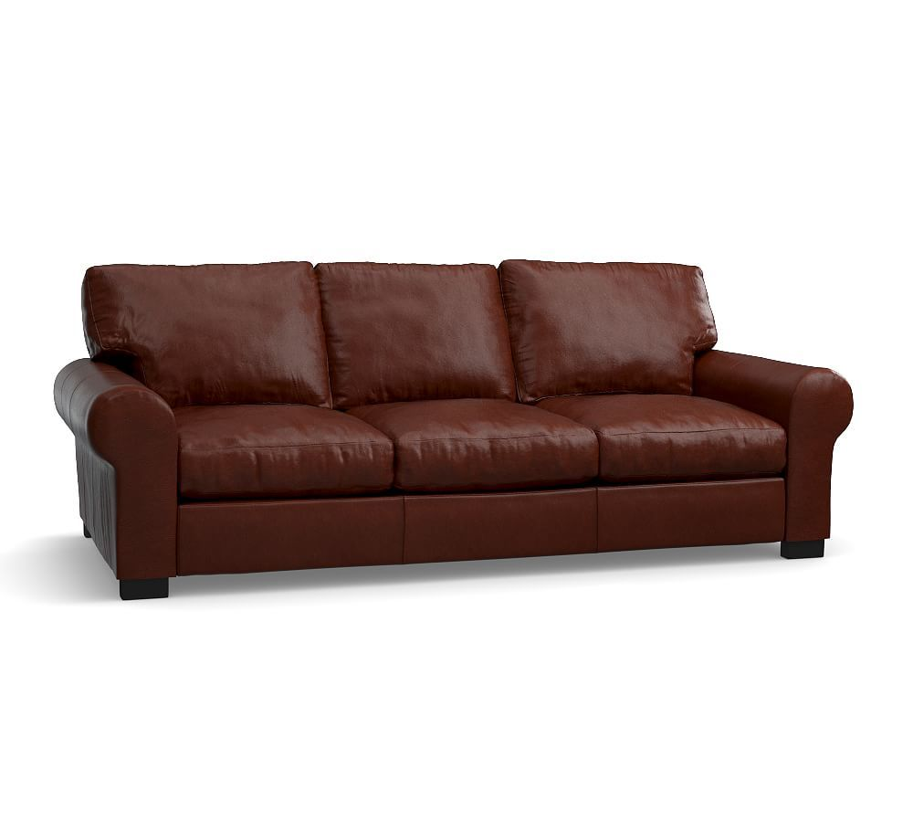 Schlafsofas Kempf Turner Roll Arm Leather Sleeper Sofa Polyester Wrapped Cushions