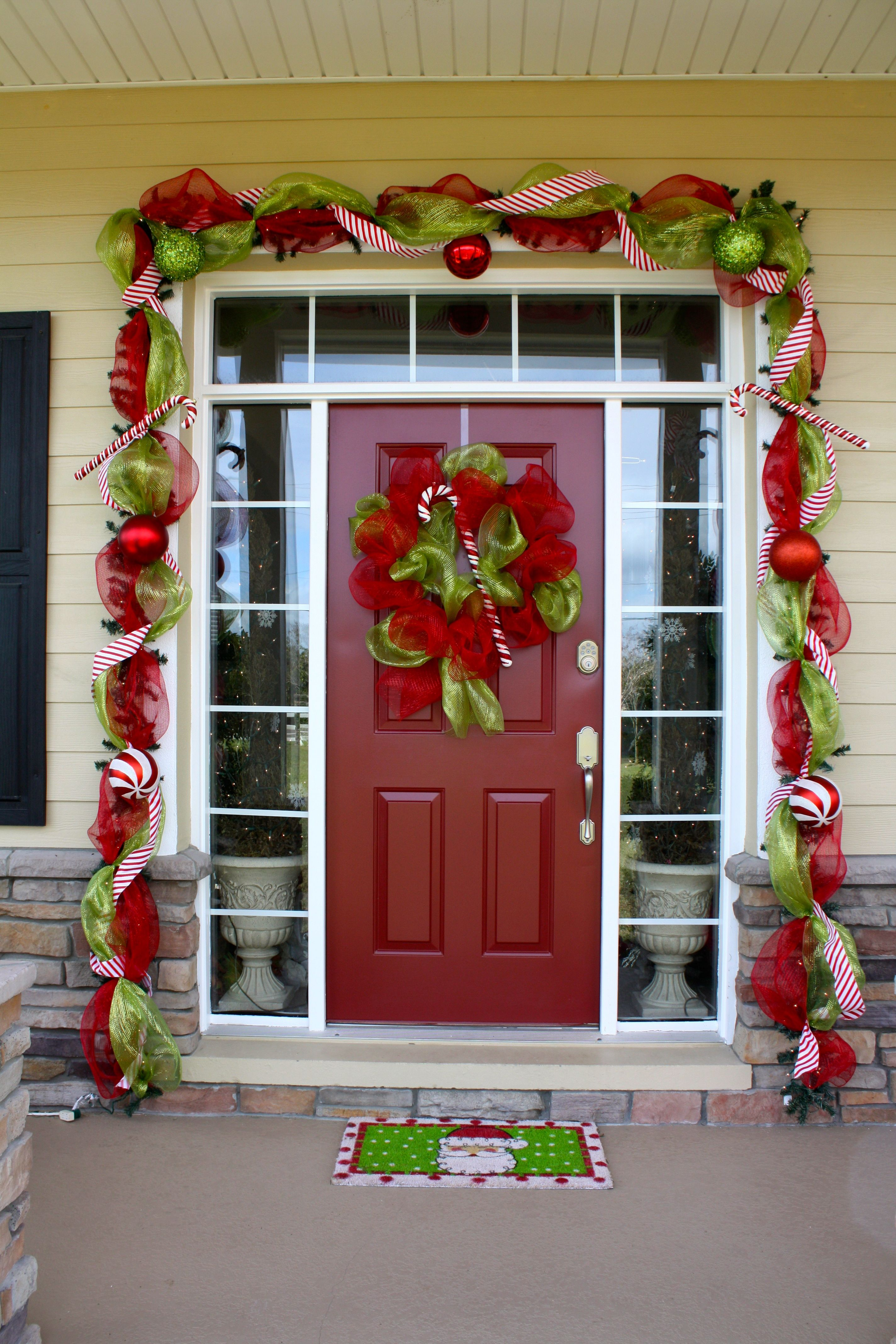 Good Ideas Here And She Used Command Hooks On The Stone Area At Th Christmas Decorations Diy Outdoor Merry Christmas Decoration Outdoor Christmas Decorations