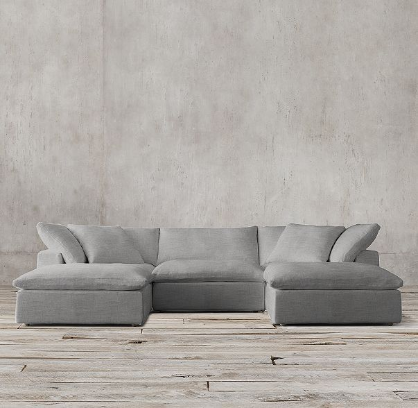 Petite Cloud Modular Slipcovered U Chaise Sectional Restoration Hardware Living Room Couch Modular Sofa Cloud Sofa Restoration Hardware
