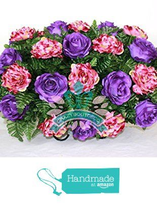 Beautiful XL Lavender Roses With Peonies Available in 3 Inch Marker Vase from Crazyboutdeco Deco Mesh Wreaths and Cemetery Arrangements https://www.amazon.com/dp/B01HJ3MB0W/ref=hnd_sw_r_pi_dp_2mN-xbBE92N1P #handmadeatamazon