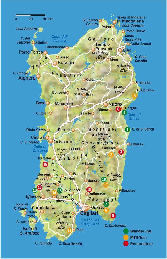 Sardinia Sardegna Map Sardinia Is The Second Largest Island