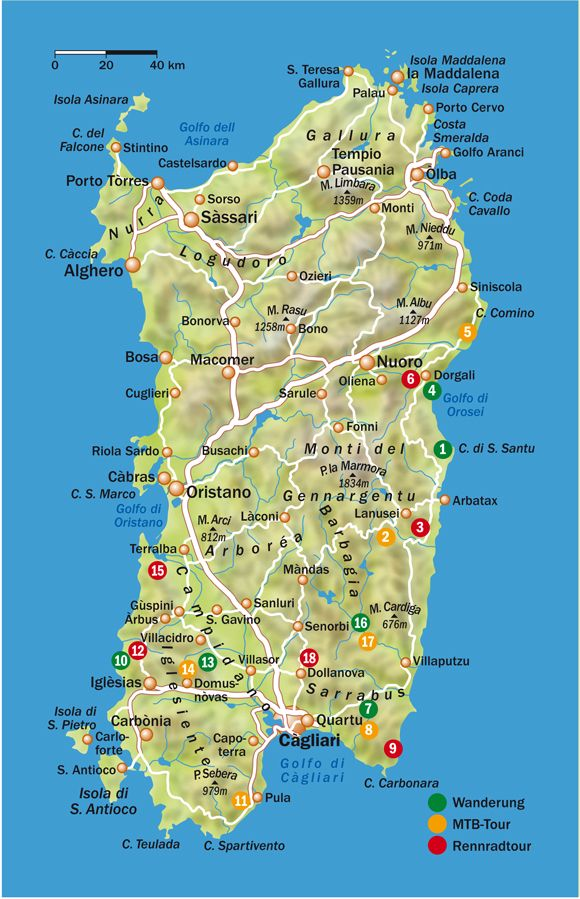 italien karte urlaubsorte Sardinia (Sardegna) map / Sardinia is the second largest island