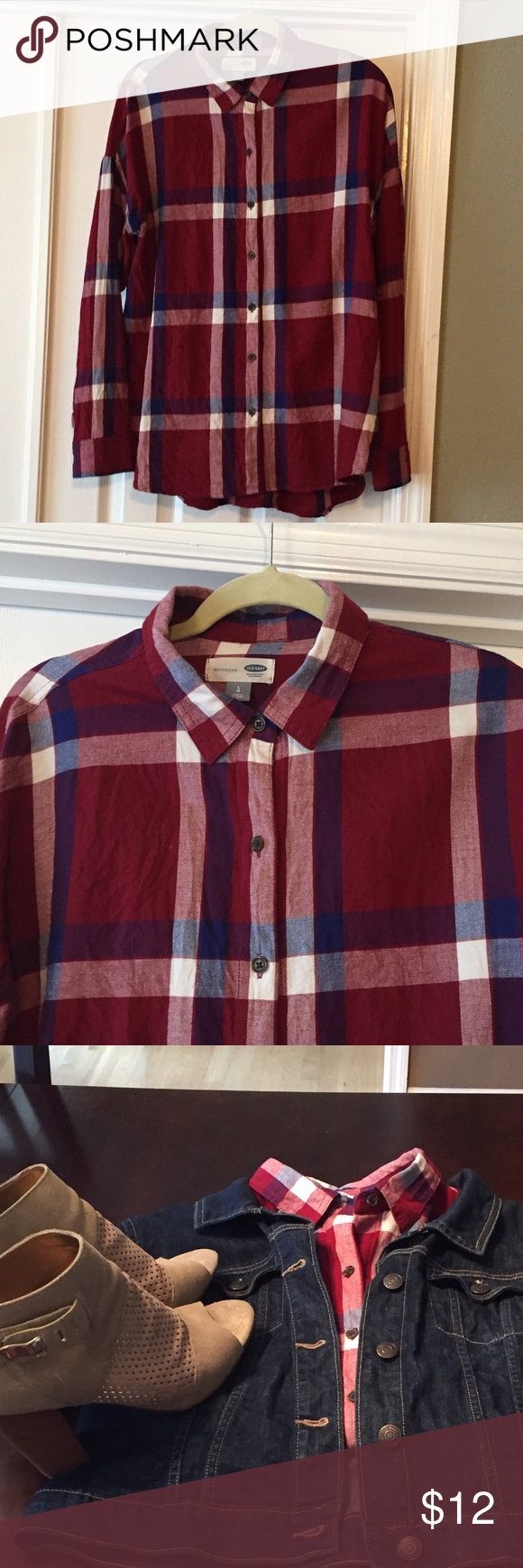 Old Navy flannel plaid shirt. Very cute and perfect for fall! 🍁 Old Navy Tops Blouses
