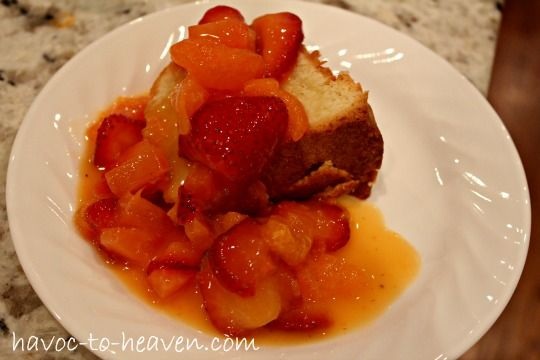 cream cheese pound cake with Tang fruit topping