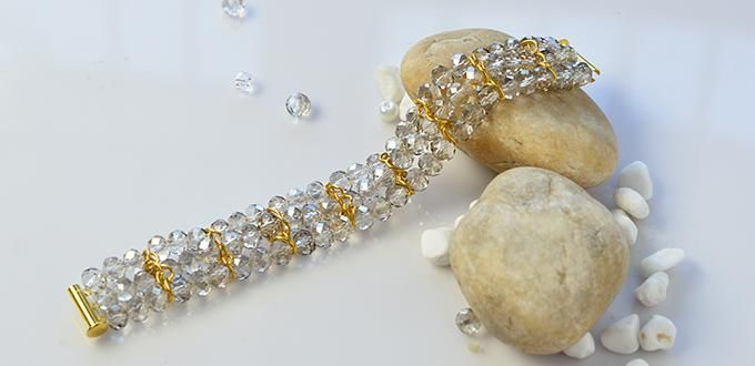 Pandahall Anleitung, wie man Glas Perlen Kristall Armbänder mit goldenen Ketten zu DIY