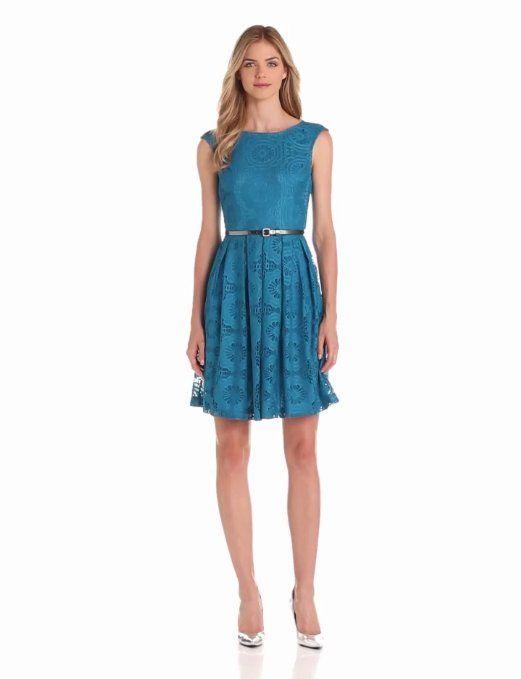 Amazon.com: London Times Women's Sleeveless Belted Dress: Clothing