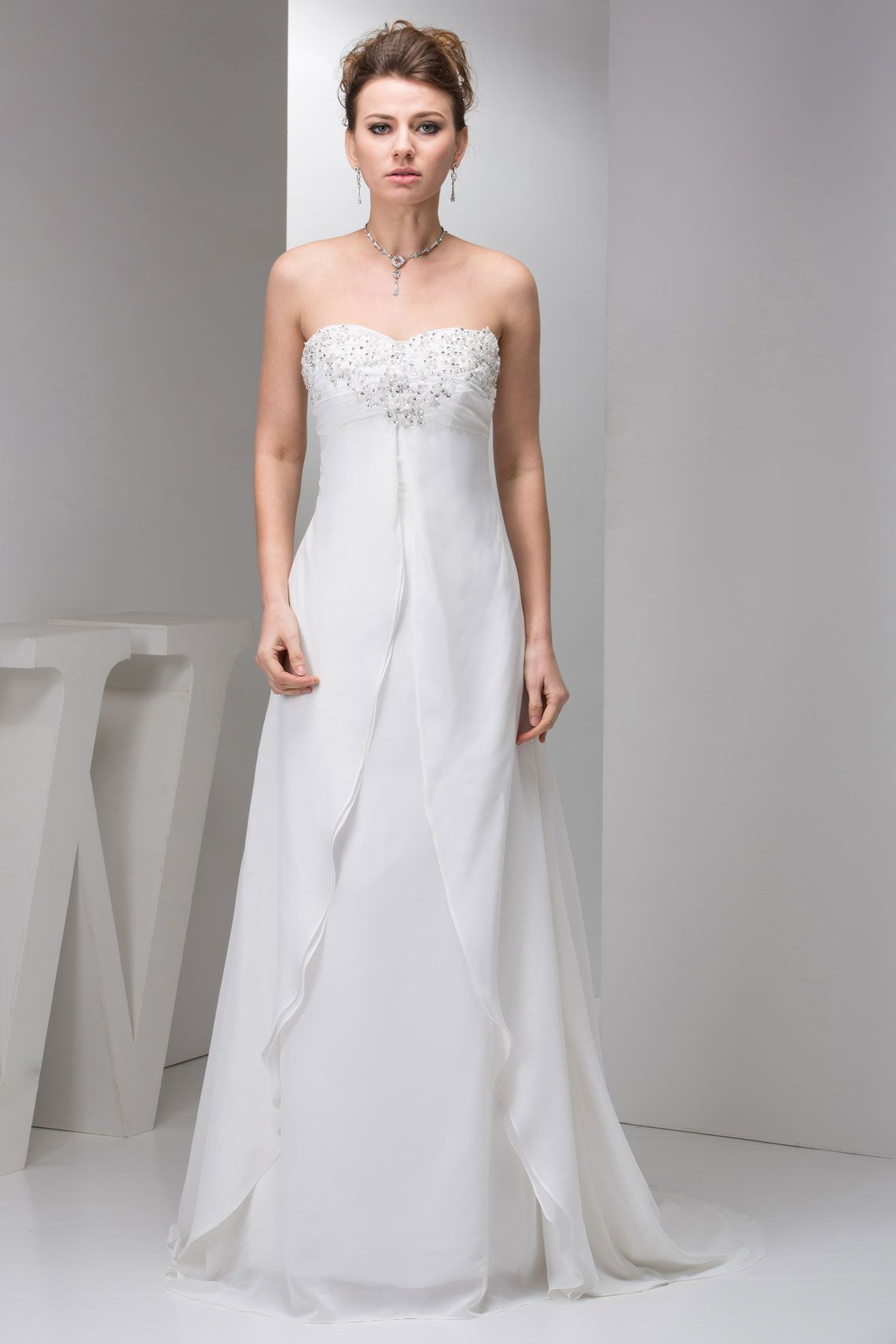Chiffon wedding dresses  Sleeveless Brush Train Beaded Empire Draping Sheath Wedding Dress