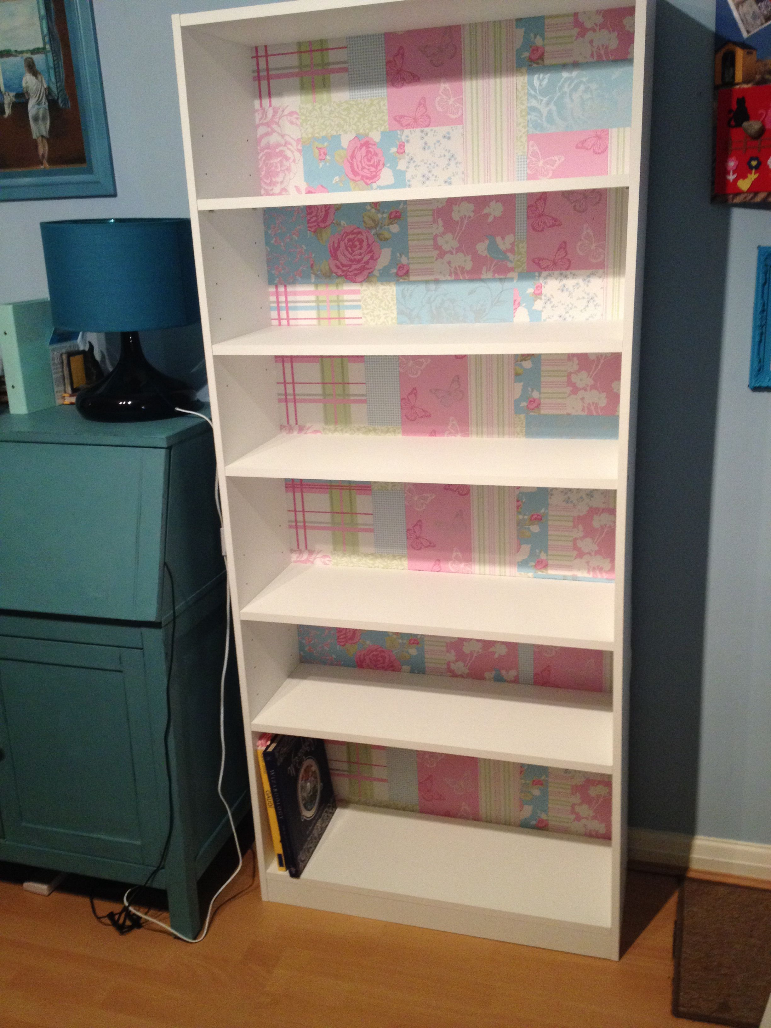 Argos Maine White Bookcase Make Over With Patchwork Wallpaper Lining