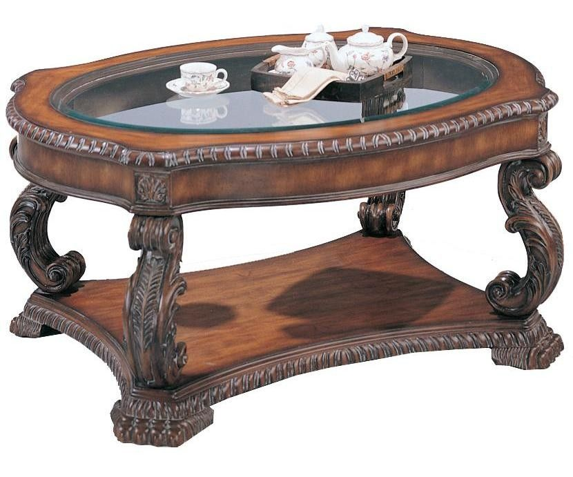 Cocktail Table w Glass Inlay Top in Brown Finish