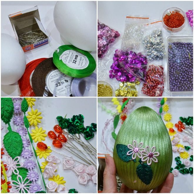 wrap the styropor eggs with thin ribbons and decorate with