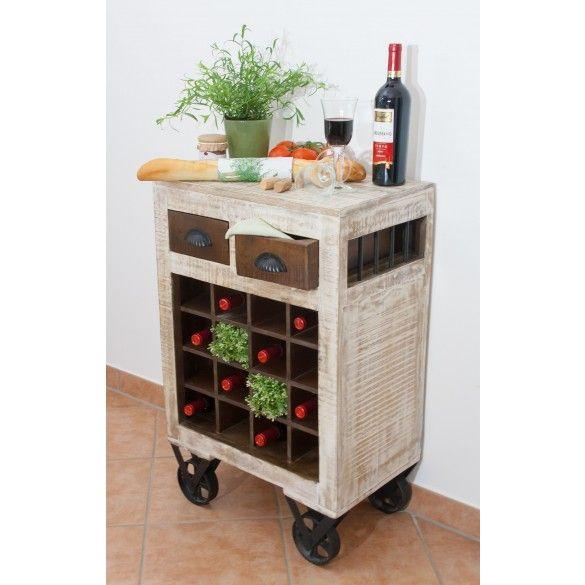 Shabby Chic Küchenwagen   Weintrolley 2-farbig 55x85x35cm Klasse - küchenwagen aus holz