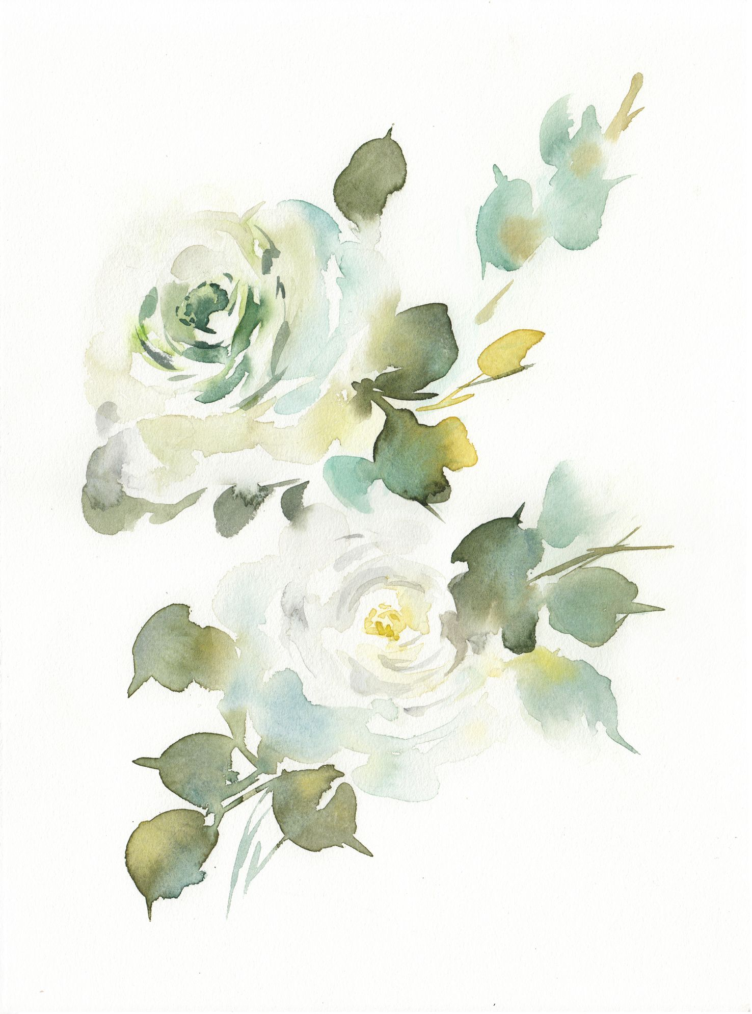 Printable Watercolor Roses Wall Art White Green Floral Botanical Watercolor Print Roses Painting Art Modern Flowers Art Instant Download In 2021 Loose Watercolor Flowers Floral Watercolor Watercolor Rose