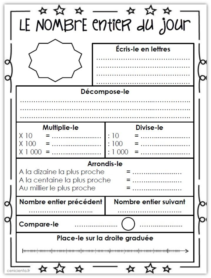 cm math matiques rituel le nombre du jour num ration nombre entier entiers et rituels. Black Bedroom Furniture Sets. Home Design Ideas