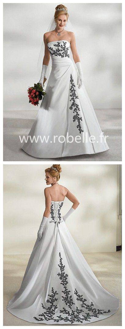 Robe de Mariée Sexy A-ligne en Traîne Chapelle Sans bretelles en Appliques en Satin